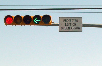 protected left on green arrow